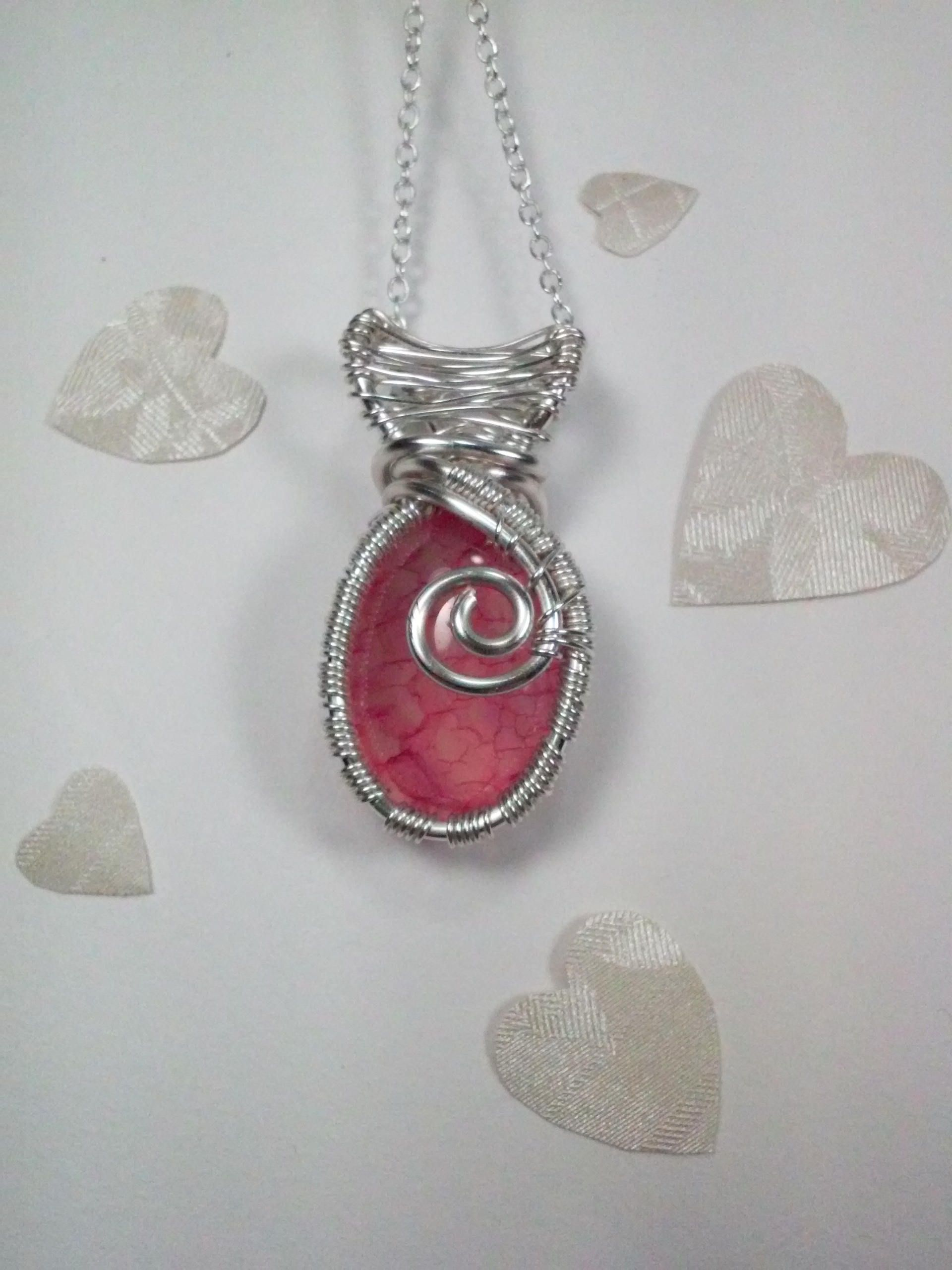 Pink Dragons Vein Agate Silver Wire Wrapped Oval Stone Pendant ...