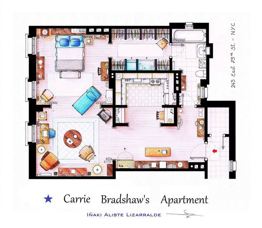 Interior Design Floor Plan Sketches artist sketches the floor plans of popular tv homes | tiny houses