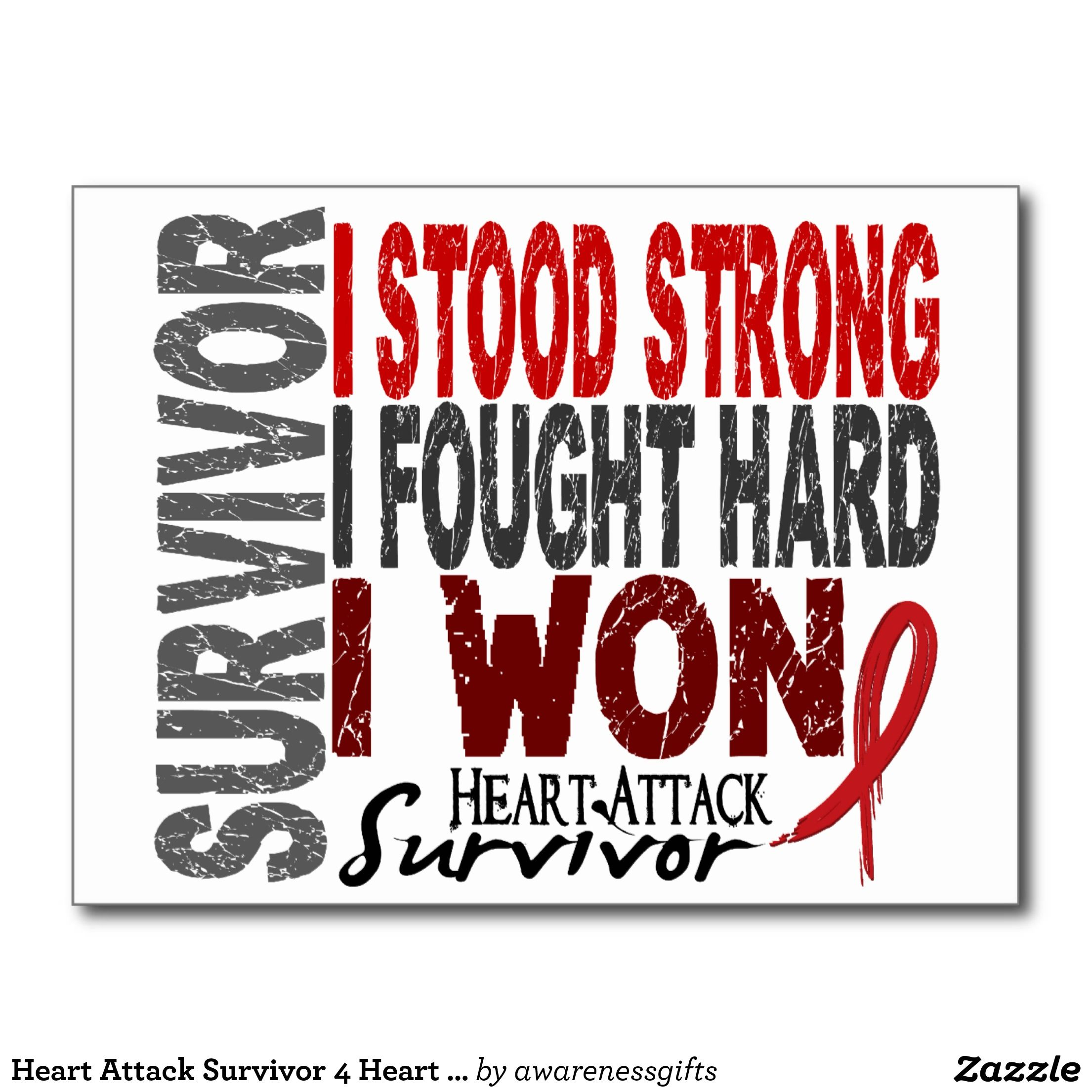 Heart Attack Survivor 4 Heart Disease Postcard Zazzle Com Au Heart Attack Heart Disease Awareness Cancer Poster