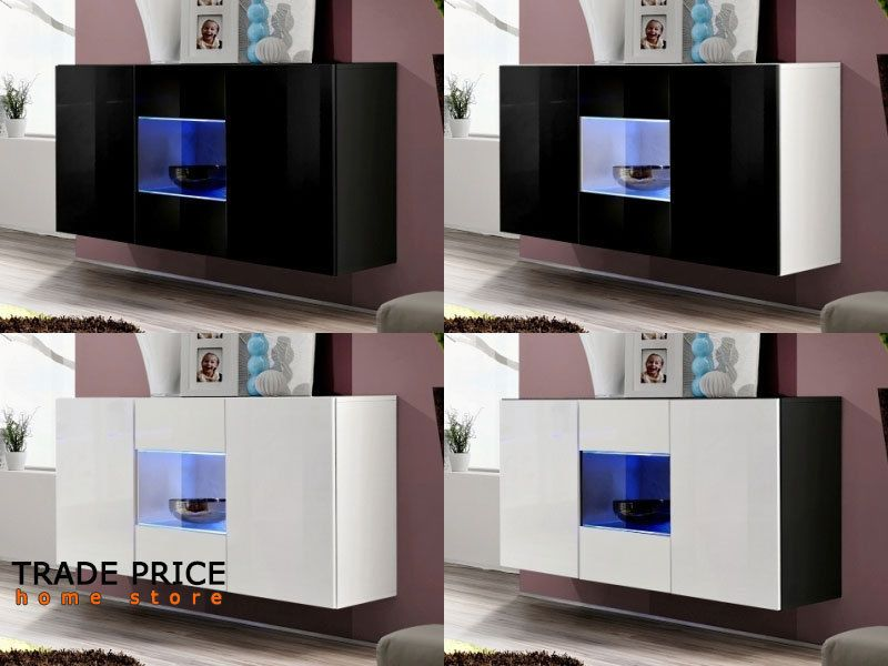 Tech 700bcgiar Gia Contemporary Led Bathroom Lighting: 120cm Floating Black/White Sideboard Cabinet, LED Lights