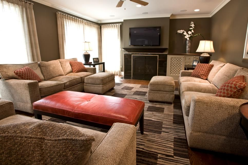 Bursts Of Burnt Orange Add Vibrancy And Energy To This Transitional Impressive Burnt Orange And Brown Living Room