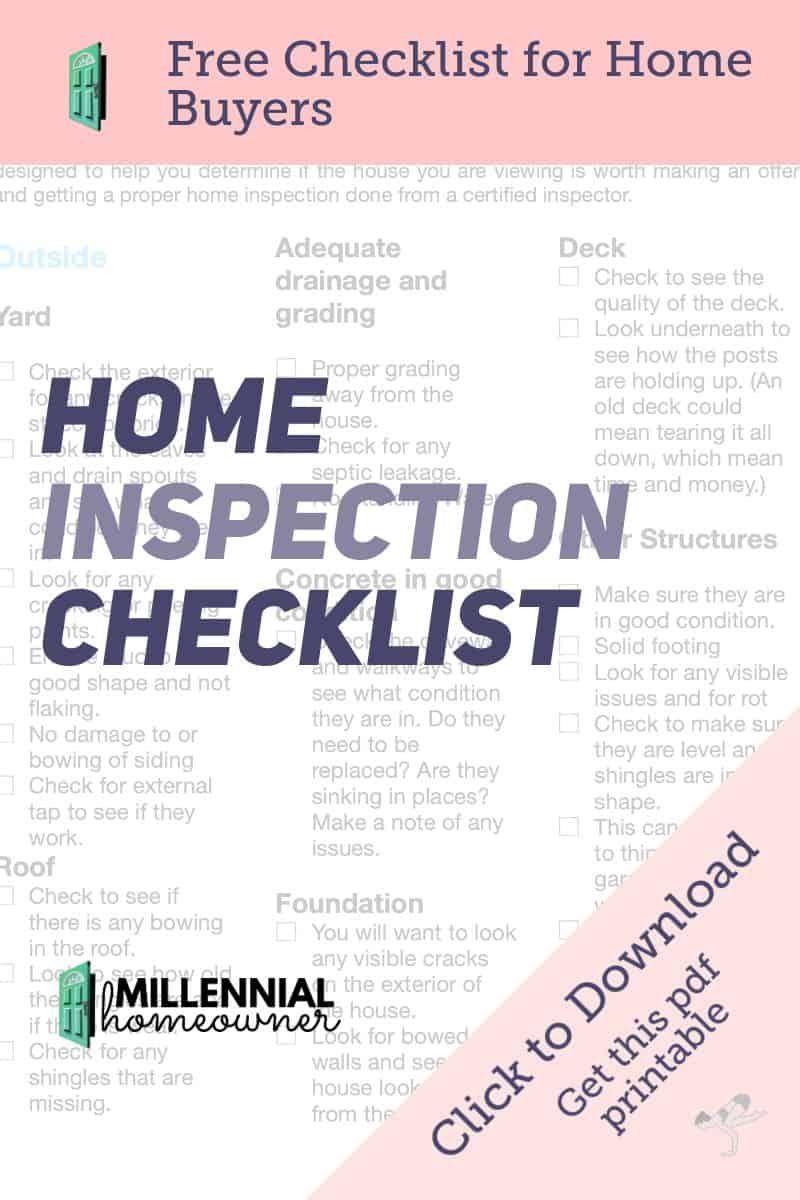 Home Inspection Checklist Are Pdf Printable Home Inspection Inspection Checklist Home Buying Checklist