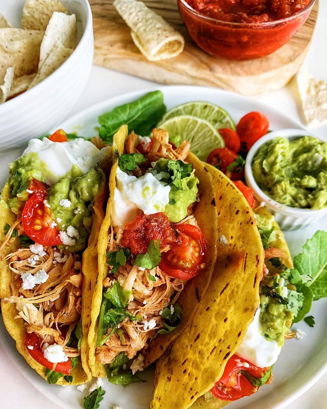 "Adriana, MD on Instagram: ""Who says it has to be Tuesday for authentic SHREDDED CHICKEN TACOS ???????????????????????? Our taco bar was a great success! ????Mainly because of this juicy,…"" #shreddedchickentacos"