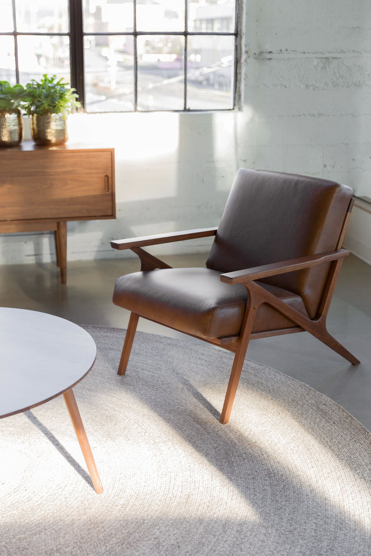 Otio Brown Leather Lounge Chair | Leather lounge, Solid wood and ...