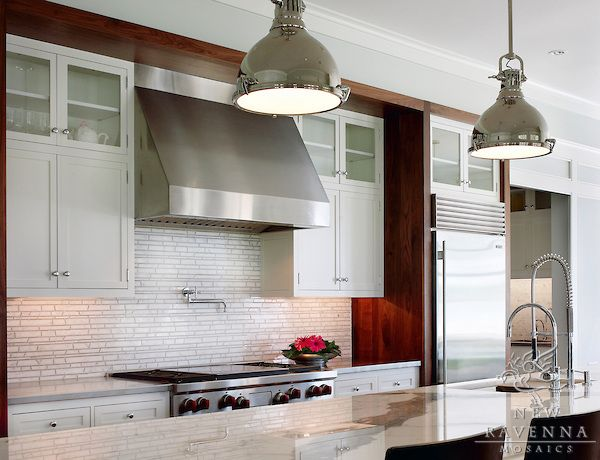 Bamboo marble mosaic kitchen backsplash in Bardiglio and Calacatta