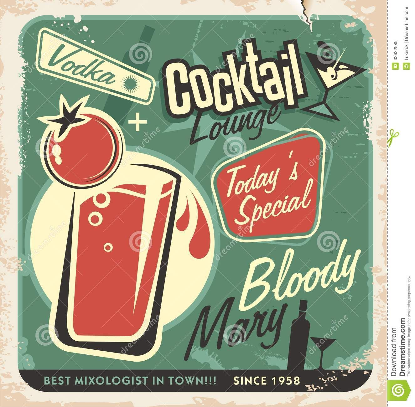 retro cocktail lounge vector poster design promotional one most