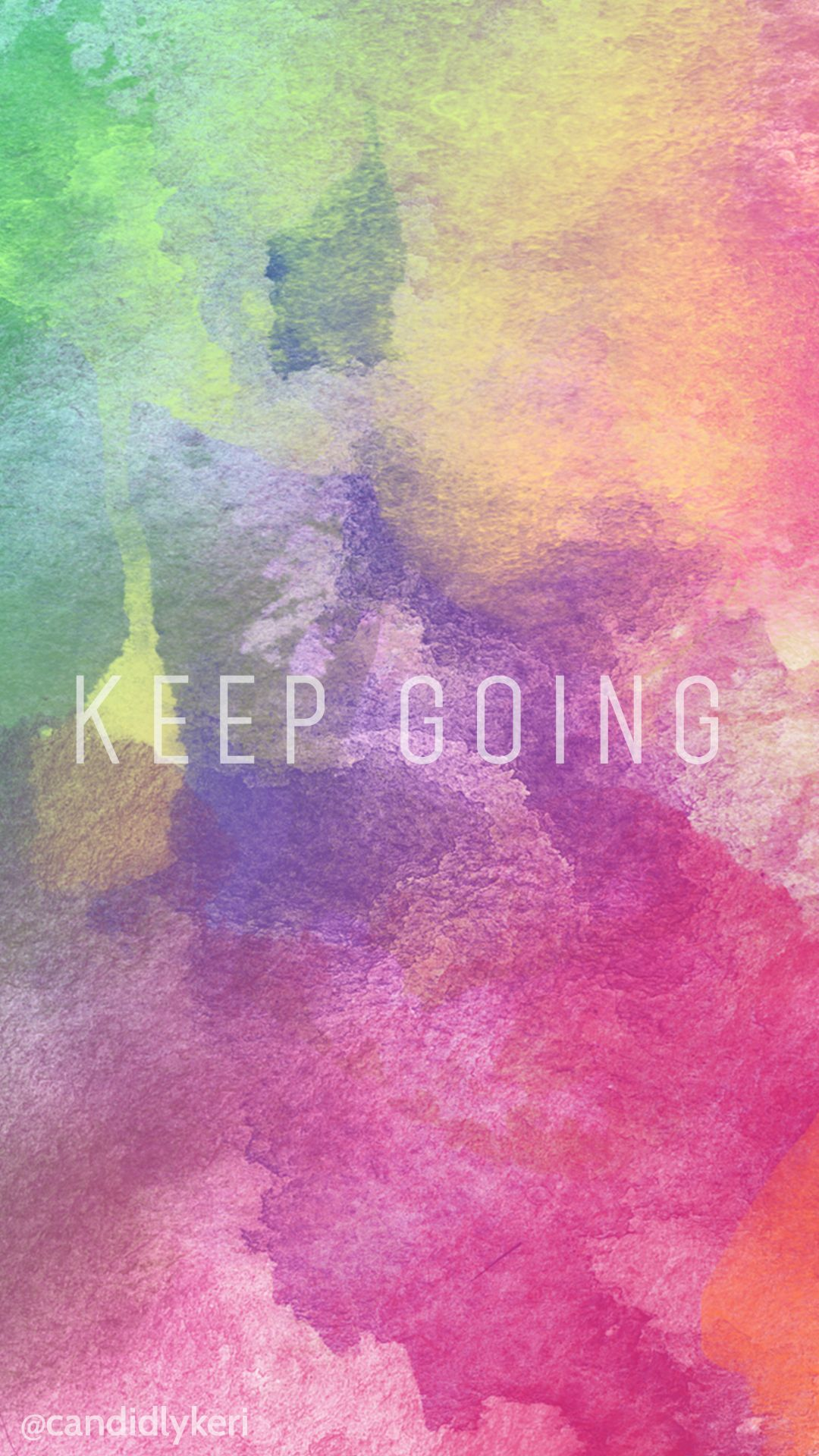 Keep Gong quote colorful watercolor background desktop tie die for free on the blog wallpaper (iphone or android)
