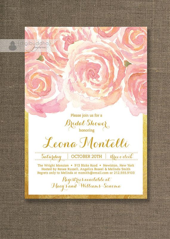 blush pink gold bridal shower invitation by digibuddhapaperie 2300