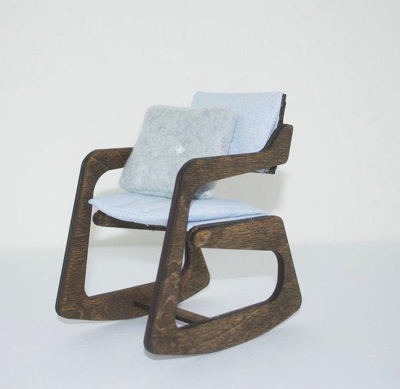 Rocket Chair 1 6 Scale White Dark Walnut Doll Chair