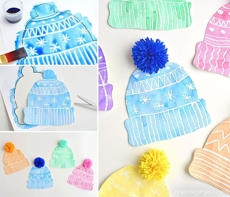 Kids Winter Hat Art Project With DIY Pom Poms