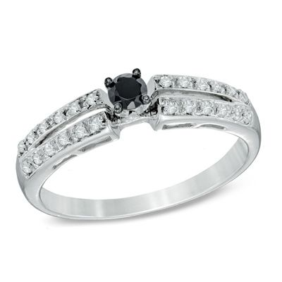 Zales: 1/4 CT. T.W. Enhanced Black and White Diamond Split Shank Promise Ring in 10K White Gold