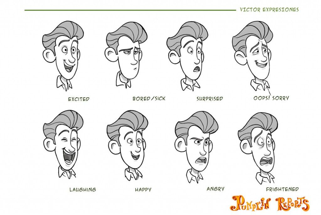Bocetos Caras Expresiones De Dibujos Animados Victor