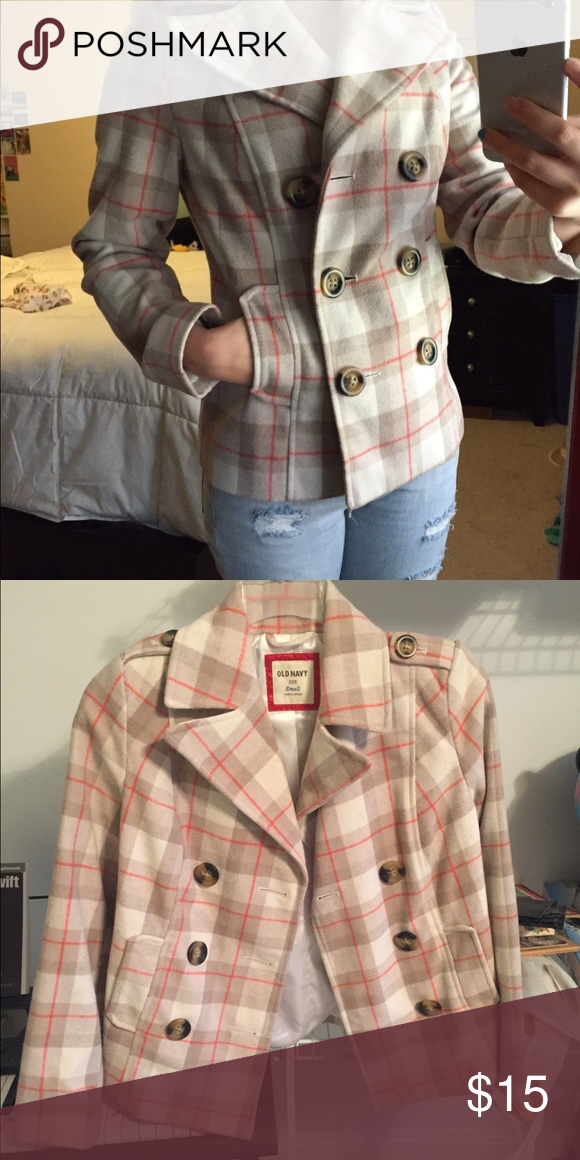 Old Navy Plaid Peacoat- size S Gorgeous and warm! Excellent condition. Old Navy Jackets & Coats Pea Coats