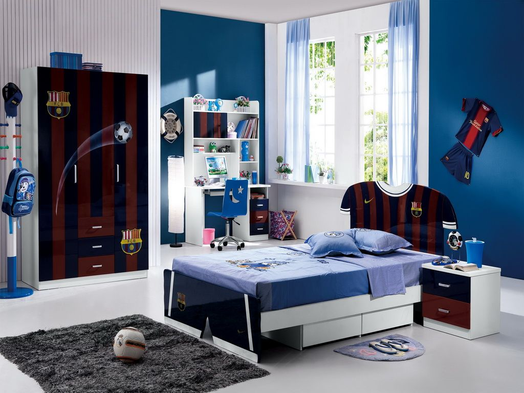 Nice bedroom design for boys - Cool Boys Bedroom Decorating Idea With Fc Barcelona Theme Printed On Bed Frame And Headboard And