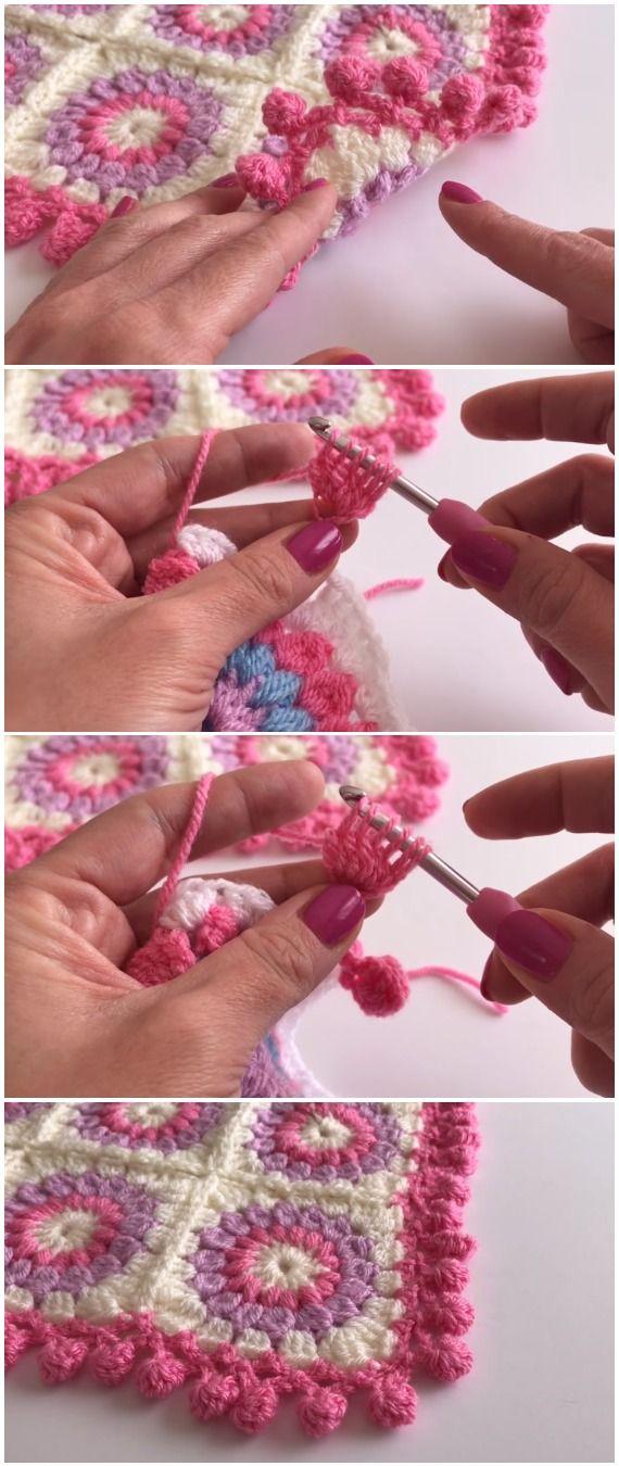 Learn To Crochet Pom Pom Edging Beautiful Free Crochet