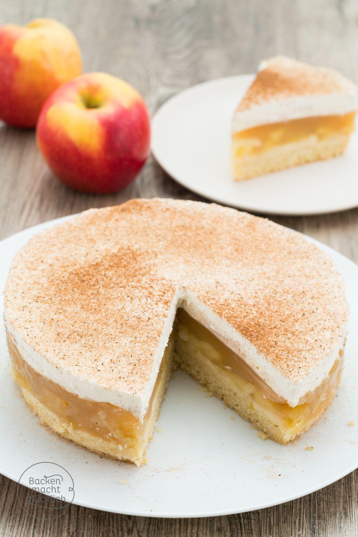 Apfel Sahne Torte Mit Pudding Rezept Apfel Sahne Torte Apfeltorte Bester Apfelkuchen