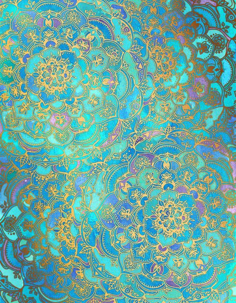 Sapphire Jade Stained Glass Mandalas Art Print By Micklyn