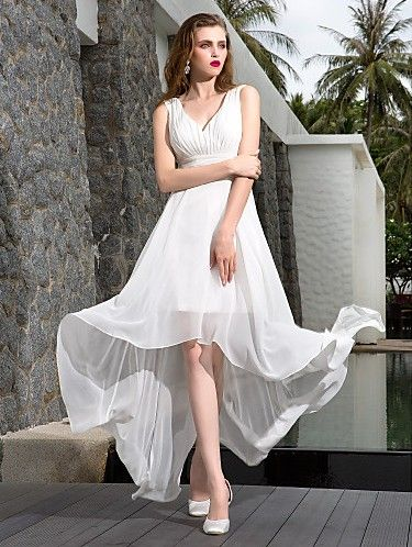 A-line V-neck Asymmetrical Georgette Wedding Dress Easebuy! Free ...