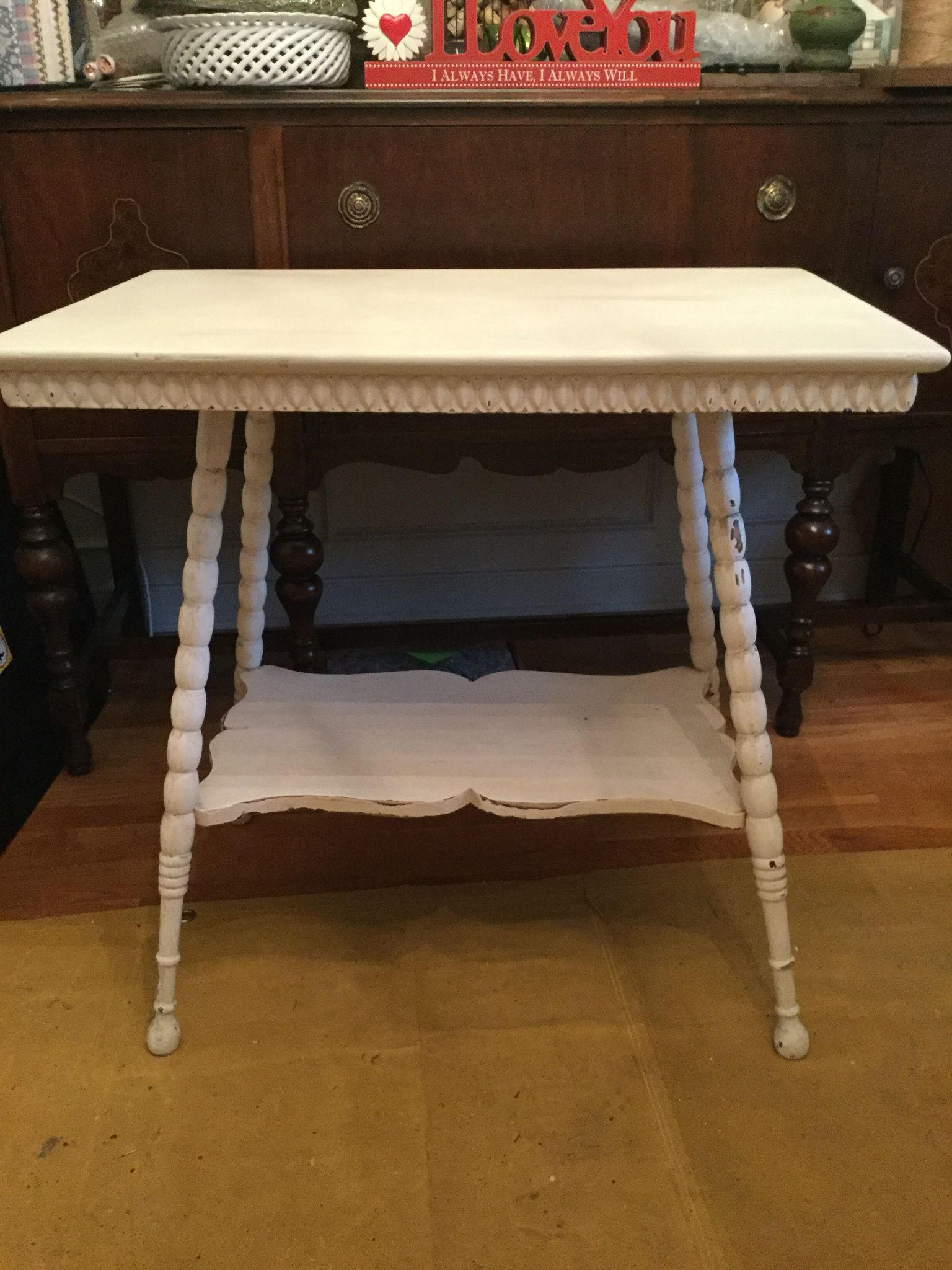 High Quality Vintage 2 Tier Spindle Leg Table, Chalk Painted U0026 Distressed