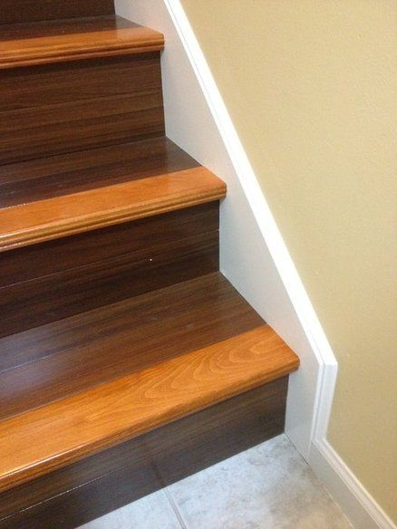 Two Tone Stain On Stairs Leading To The Basement Refinish | Two Tone Wood Stairs | Timber | Partially Carpeted | White Back | Diy | Rug