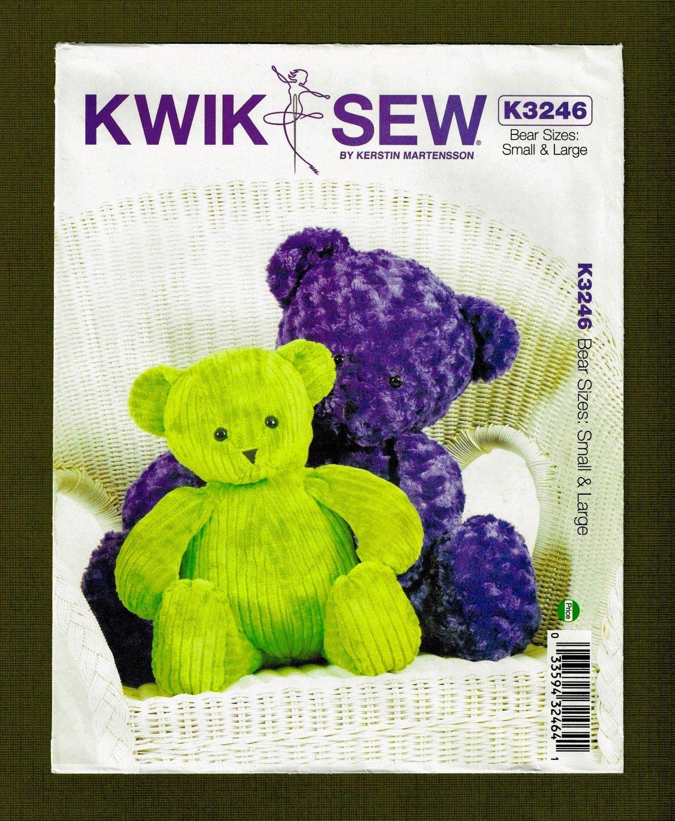 Teddy Bear Sewing Pattern Kwik Sew Patterns K3246osz Teddy Bears Sewing Pattern Size Large #babyteddybear