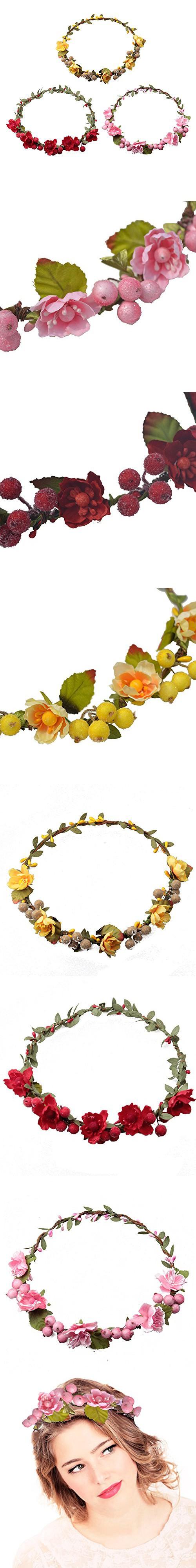 Dreshow 3 pack flower crown for women berries wreath boho headband dreshow 3 pack flower crown for women berries wreath boho headband festivals wedding red pink yellow izmirmasajfo
