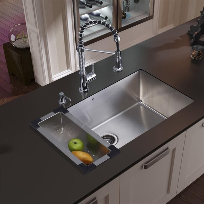 undermount stainless steel kitchen sink with faucet colander rh pinterest ca