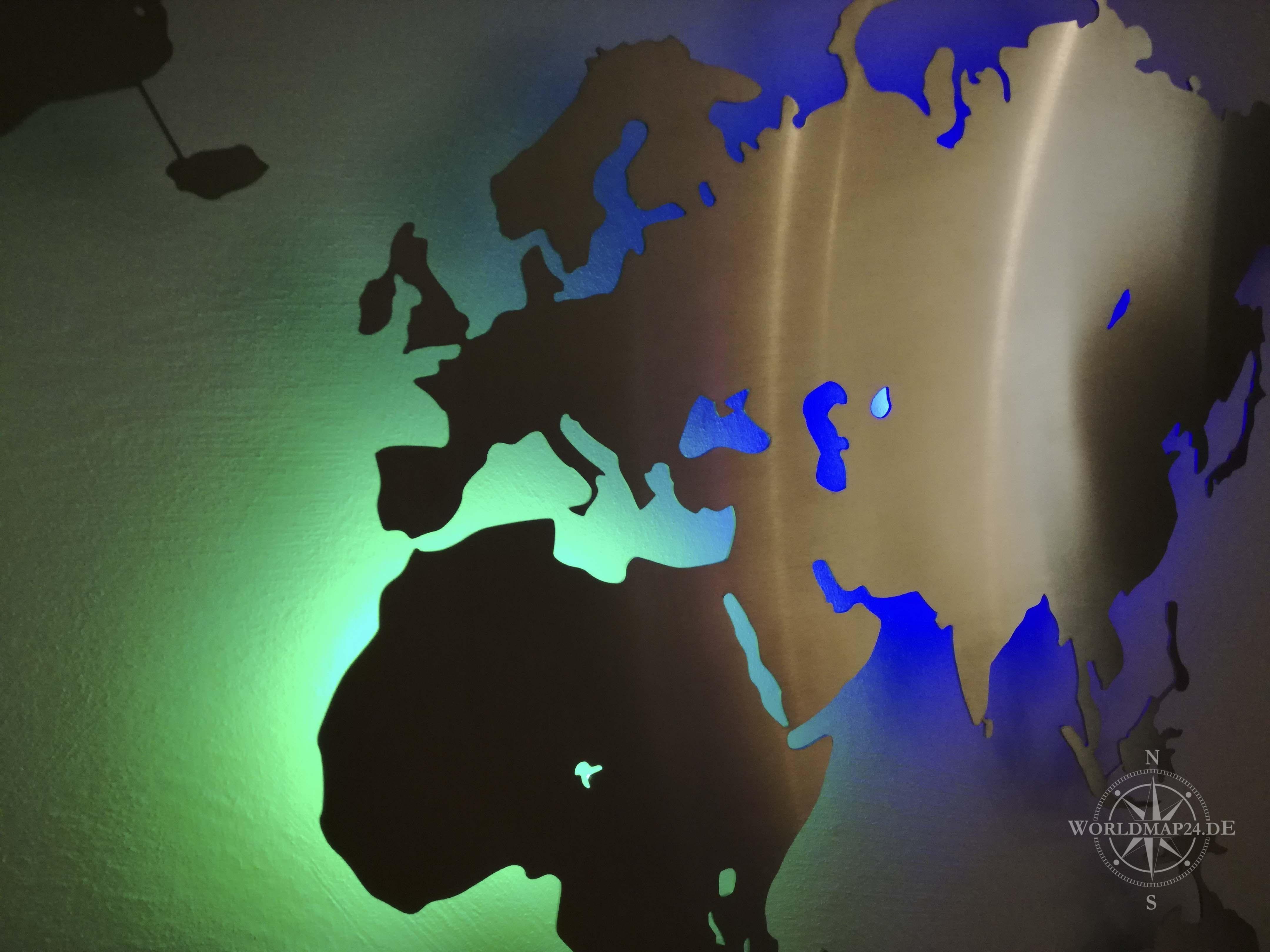 Beleuchtete Weltkarte Wand Dekoration Aus Edelstahl Rbg Led Diy Weltkarte Wand Weltkarte Beleuchten