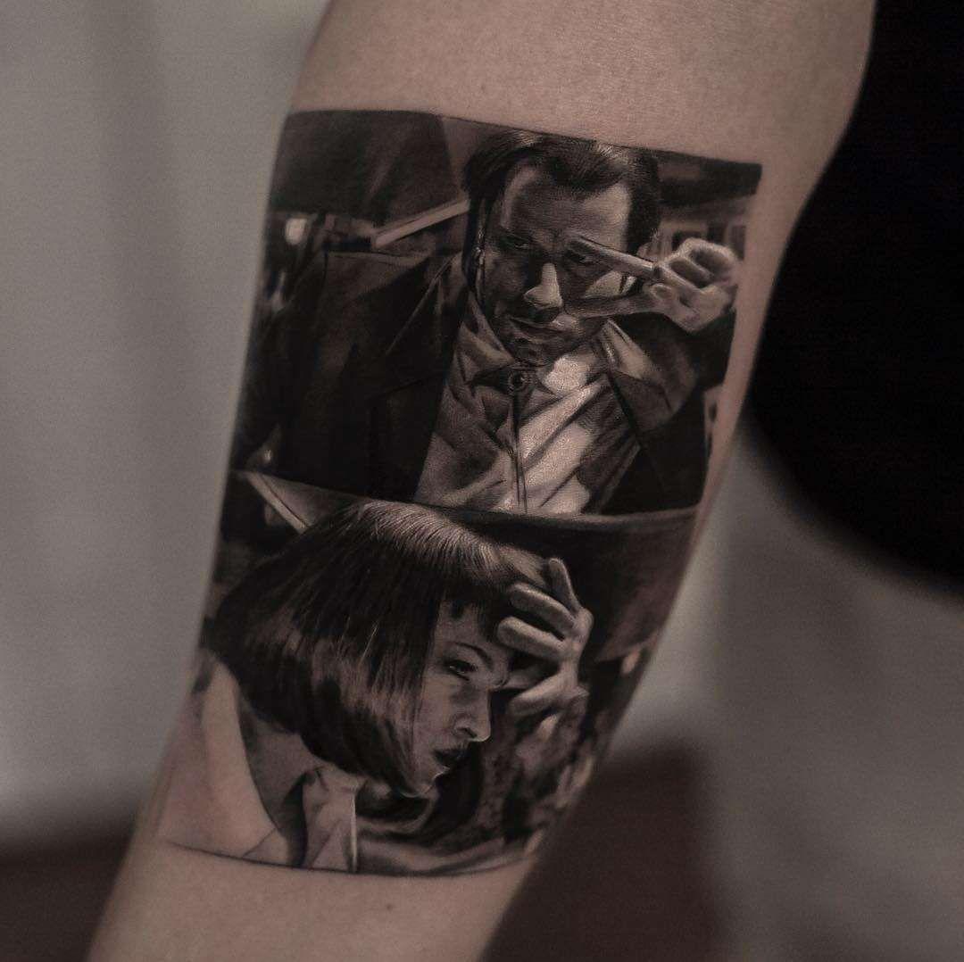 Inal Bersekov S Photorealistic Tattoos Movie Tattoos Pulp Fiction Tattoo Tattoo Artists