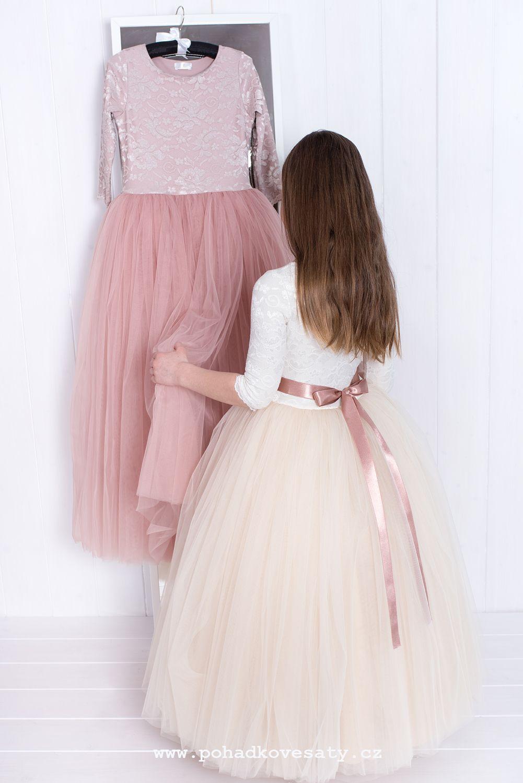 Dlouhé dětské a dívčí tylové šaty pro družičky e1e77edd77