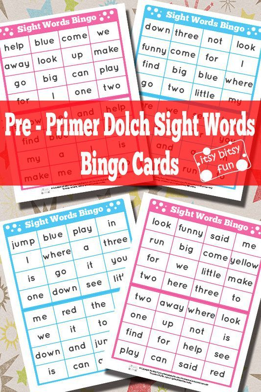 Pre Primer Sight Words Bingo Cards