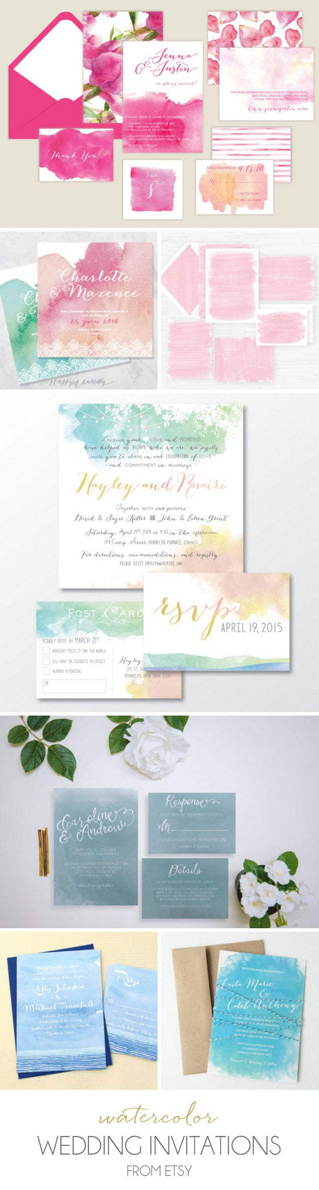 Watercolor Wedding Invitations from Etsy | SouthBound Bride