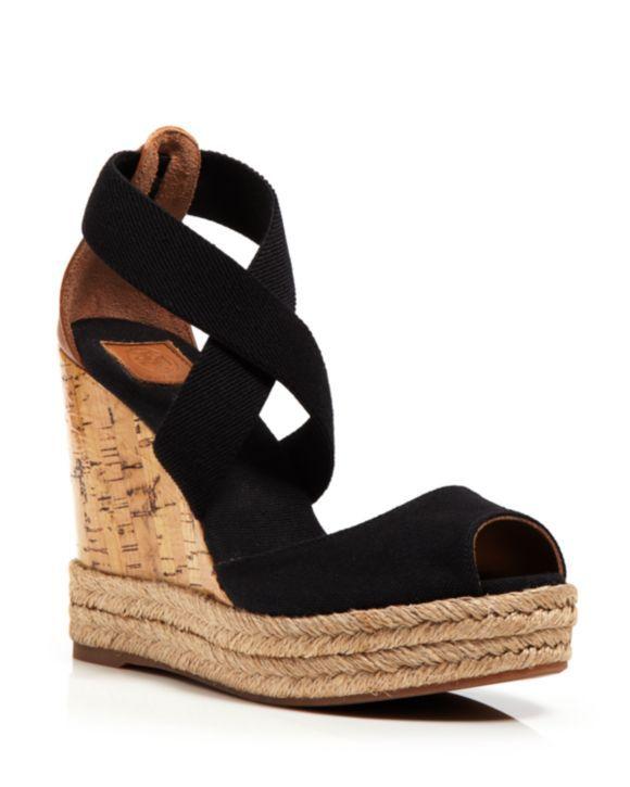 c8b7e60621 Tory Burch Peep Toe Canvas Platform Sandals - Cork Wedge Heel |  Bloomingdales's