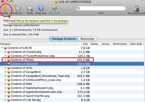 Extract iPhoto from iLife Application installer DVD   Apple macOS