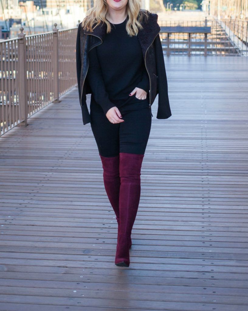 Burgundy Over the Knee Boots I @meghandono  Burgundy boots outfit