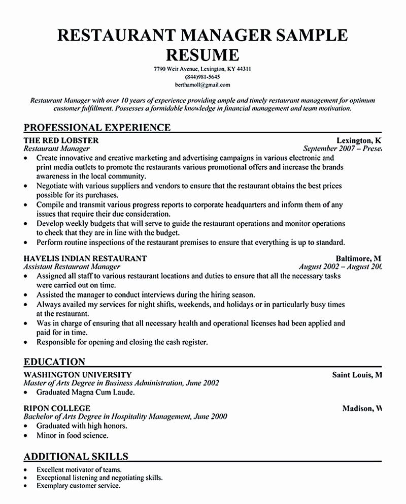 Restaurant Manager Resume Examples Inspirational