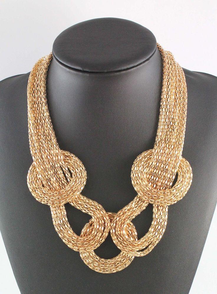 Fashion Women Gold Tone Hollow Mesh Linked Five Chain Bib Necklace #Choker
