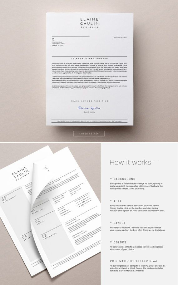 Simple Resume Template + Cover Letter for Word  Pages _ Minimal CV