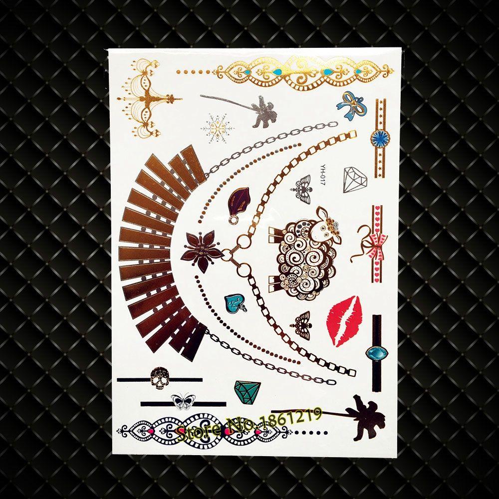 New gold henna metallic temporary tattoo choker necklace