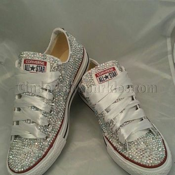 SALE White Low Ox Glass and Pearl Crystal Rhinestone Converse Bling ... b7aba708e56b
