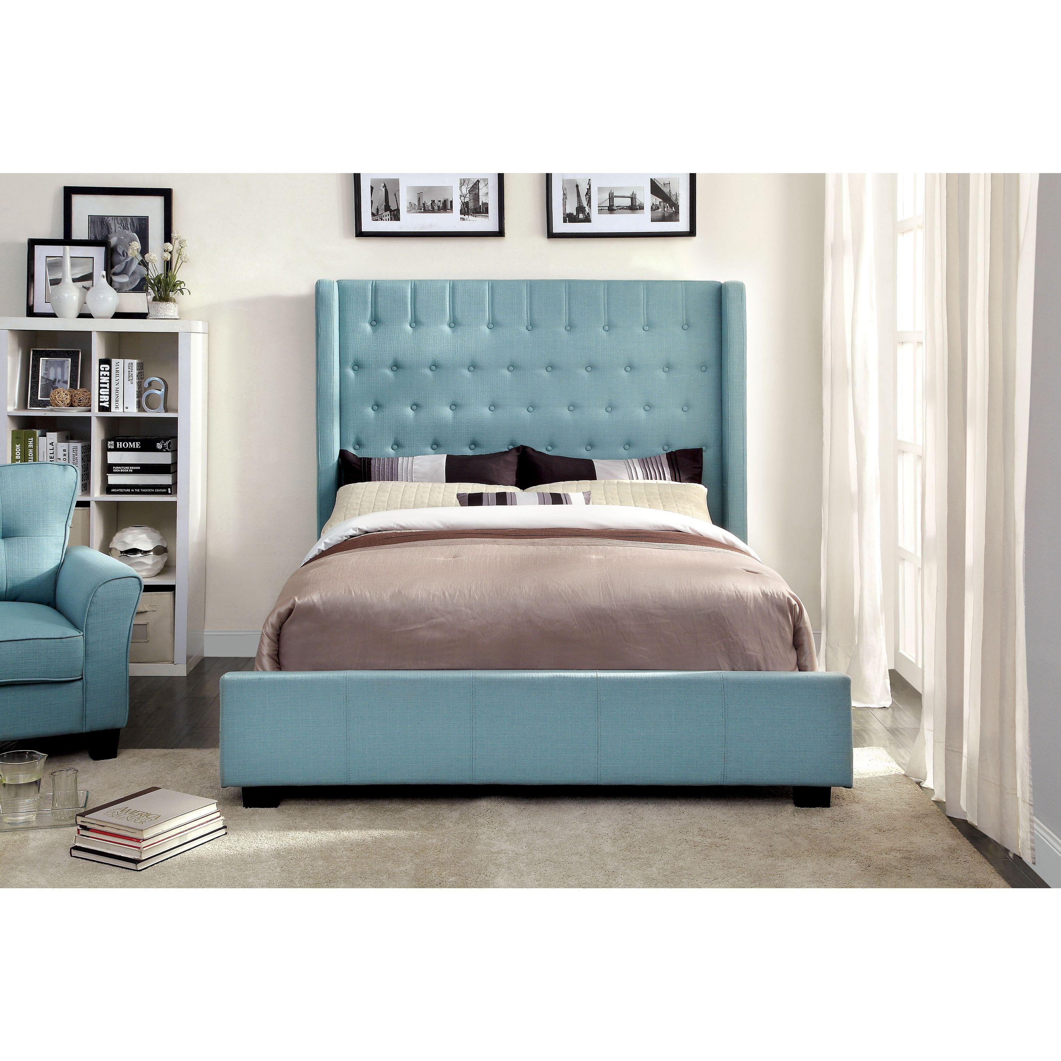 Furniture of America Carmella Wingback Low-profile Bed (Silver ...
