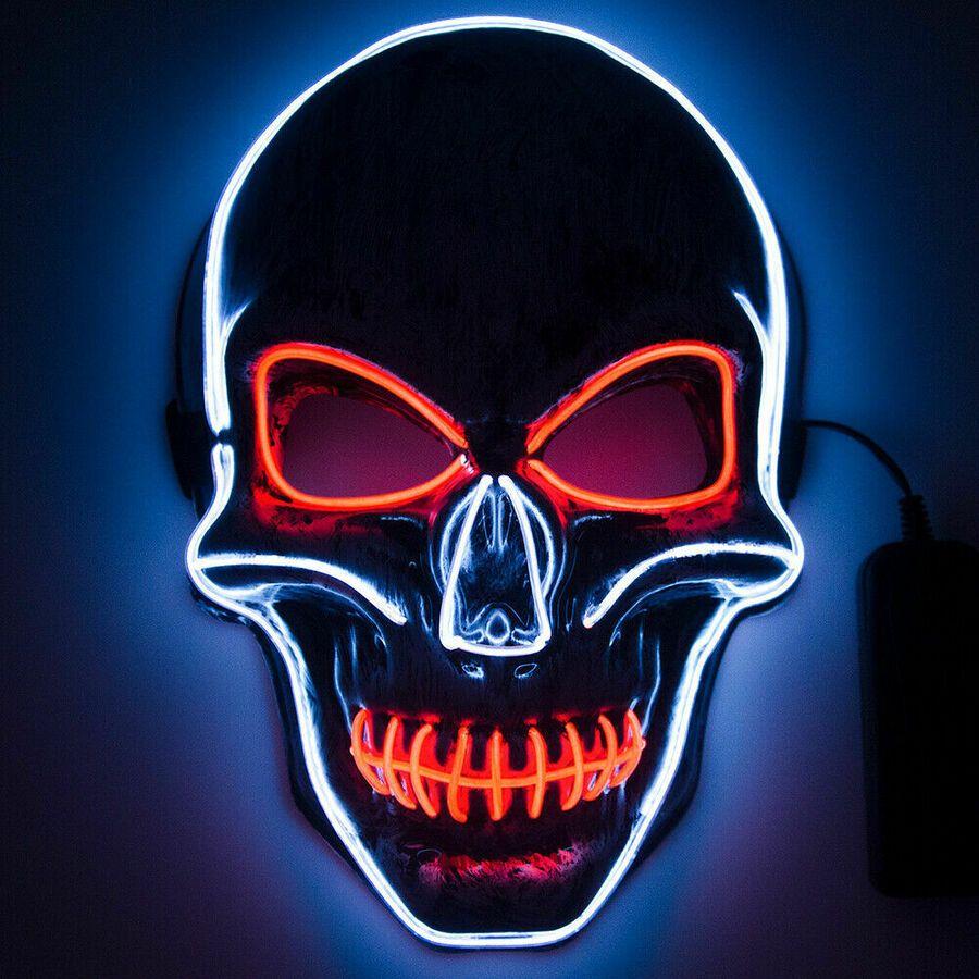 Halloween Skeleton LED Mask Glow Scary ELWire Mask Light