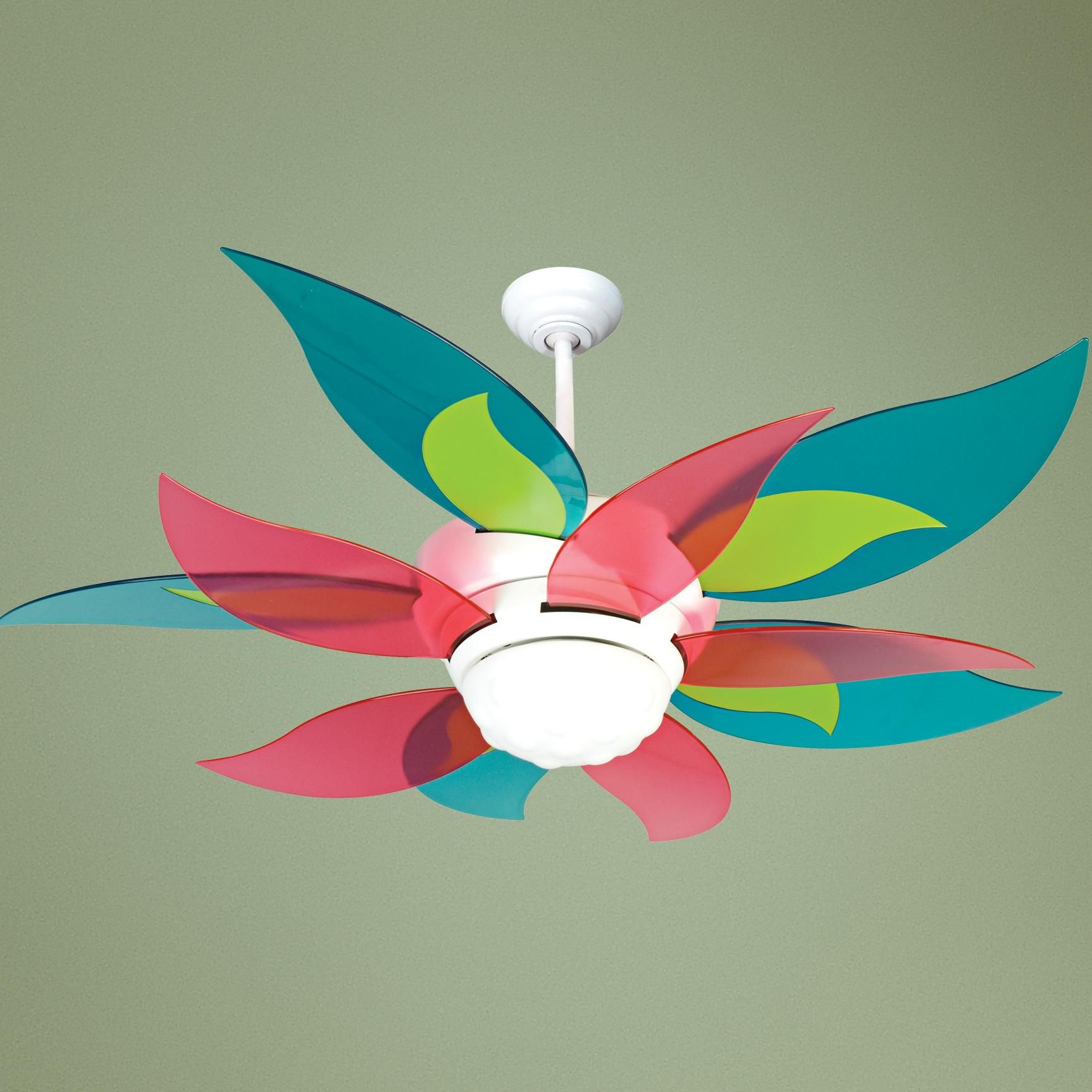 52 Craftmade Bloom Clear Colors Ceiling Fan With Light Glo