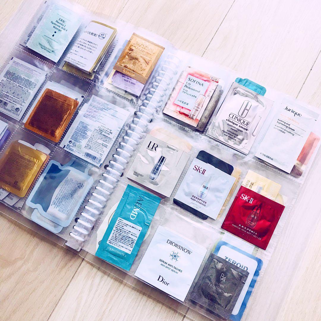 コスメ整理 化粧品サンプル 収納 に 100均 トレーディングカードホルダー がピッタリでした 収納 アイデア インテリア 収納 サンプル 化粧品