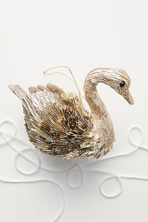 Metallic Beaded Swan Ornament by Anthropologie in Gold, Holiday