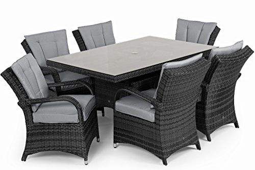San Diego Rattan Garden Furniture Houston Grey Seater Rectangle