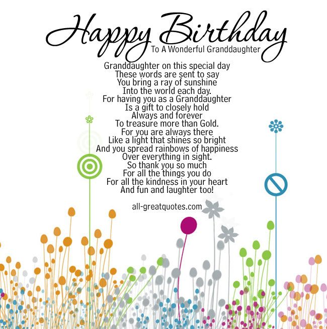 Happy Birthday To A Wonderful Granddaughter Granddaughter on – What to Say in a Happy Birthday Card