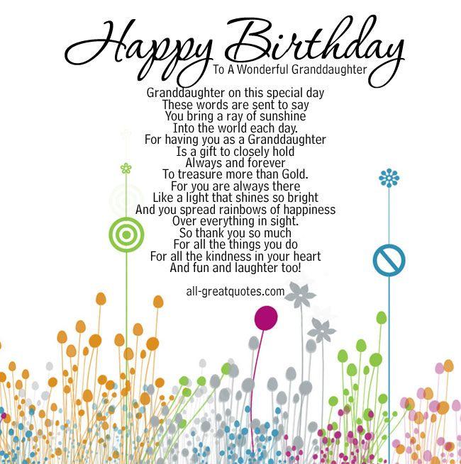 Happy Birthday To A Wonderful Granddaughter Card Birthday Verses For Cards Birthday Verses Daughter Birthday Cards