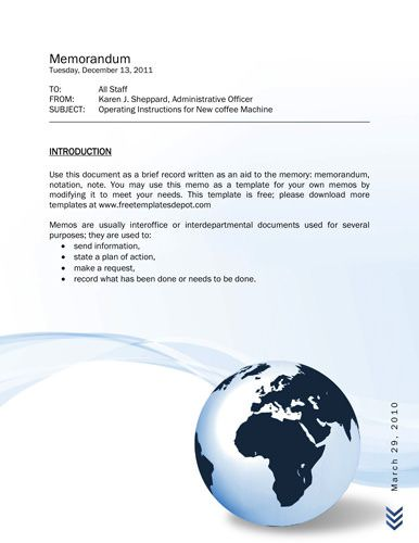 Global company themed memo Memorandum Templates in Word Pinterest - free memo template download