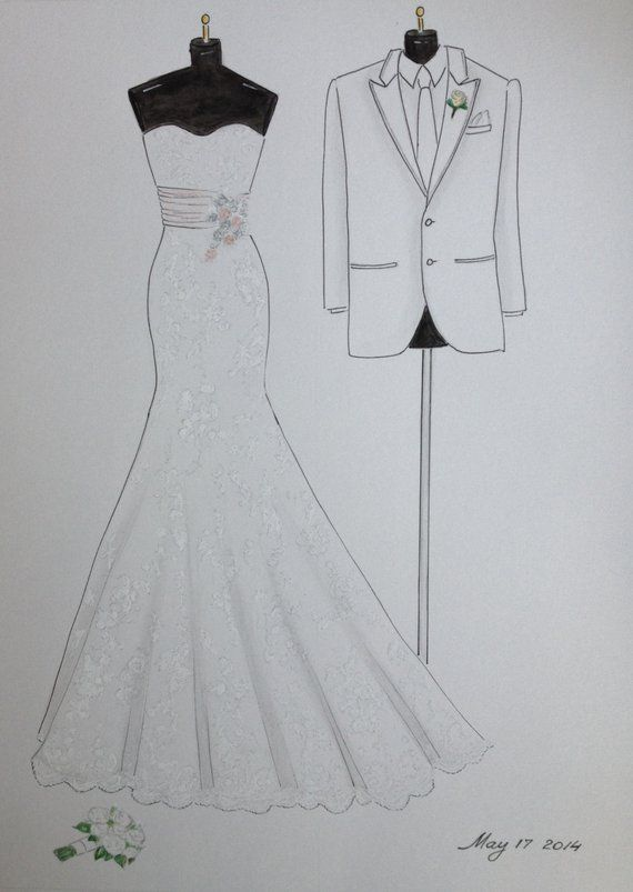 Custom Wedding Dress Sketch And Tuxedo Bride And Groom Attire Portrait Paper Anniversary Wedding